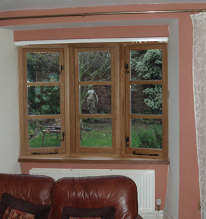European oak double glazed windows with traditional black fittings : View 1