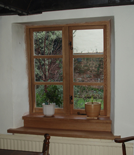European oak double glazed windows with traditional black fittings : View